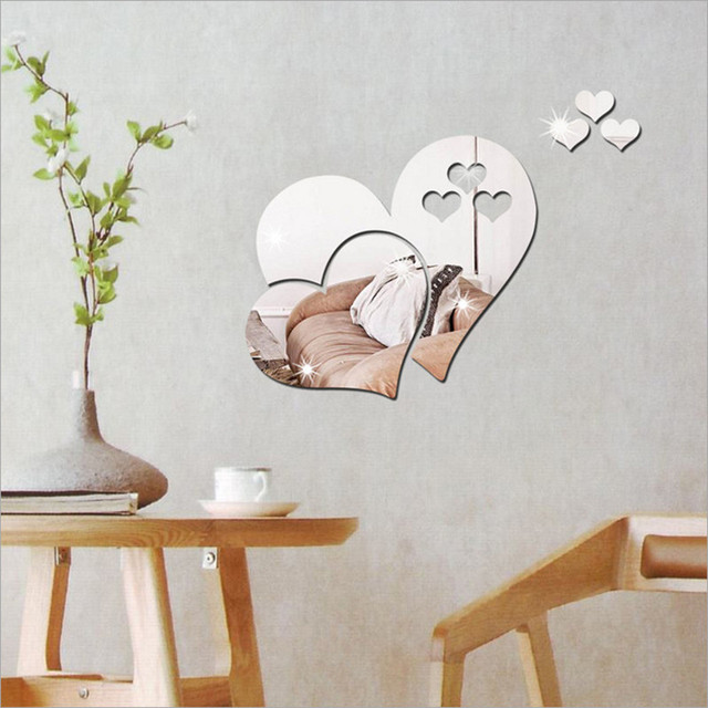 1 Set 3D Mirror Love Heart Vinyl Removable Wall Sticker Decal DIY Home Decor Mirror Art Design Poster Bedroom Wall Decoration #A