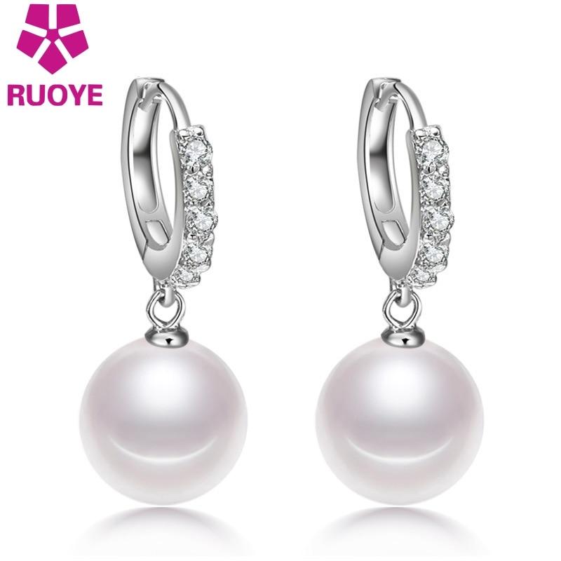 925 ստերլինգ արծաթագույն Dangle ականջող 10 մմ մոդելավոր մարգարիտ արծաթագույն շքեղ բյուրեղյա կաթիլ ականջող կանանց համար ոսկերչական իրեր