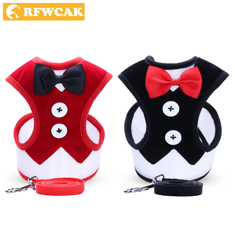 RFWCAK 1 Set Pet Cat Dog Harness Safety Walking Kitty Nylon Collar Leash Dog Traction Elegant Style Cute Jacket Pet Products in Cat Collars Leads from Home Garden