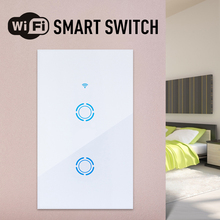 US standard 1/2/3 Gang Smart Touch Light Switch WiFi/Voice/eWeLink Remote control Touch Panel Wall Switch work with alexa s05 lemaic wifi smart home timing voice remote control switch light wall us 3 gang for app control touch switch work with alexa