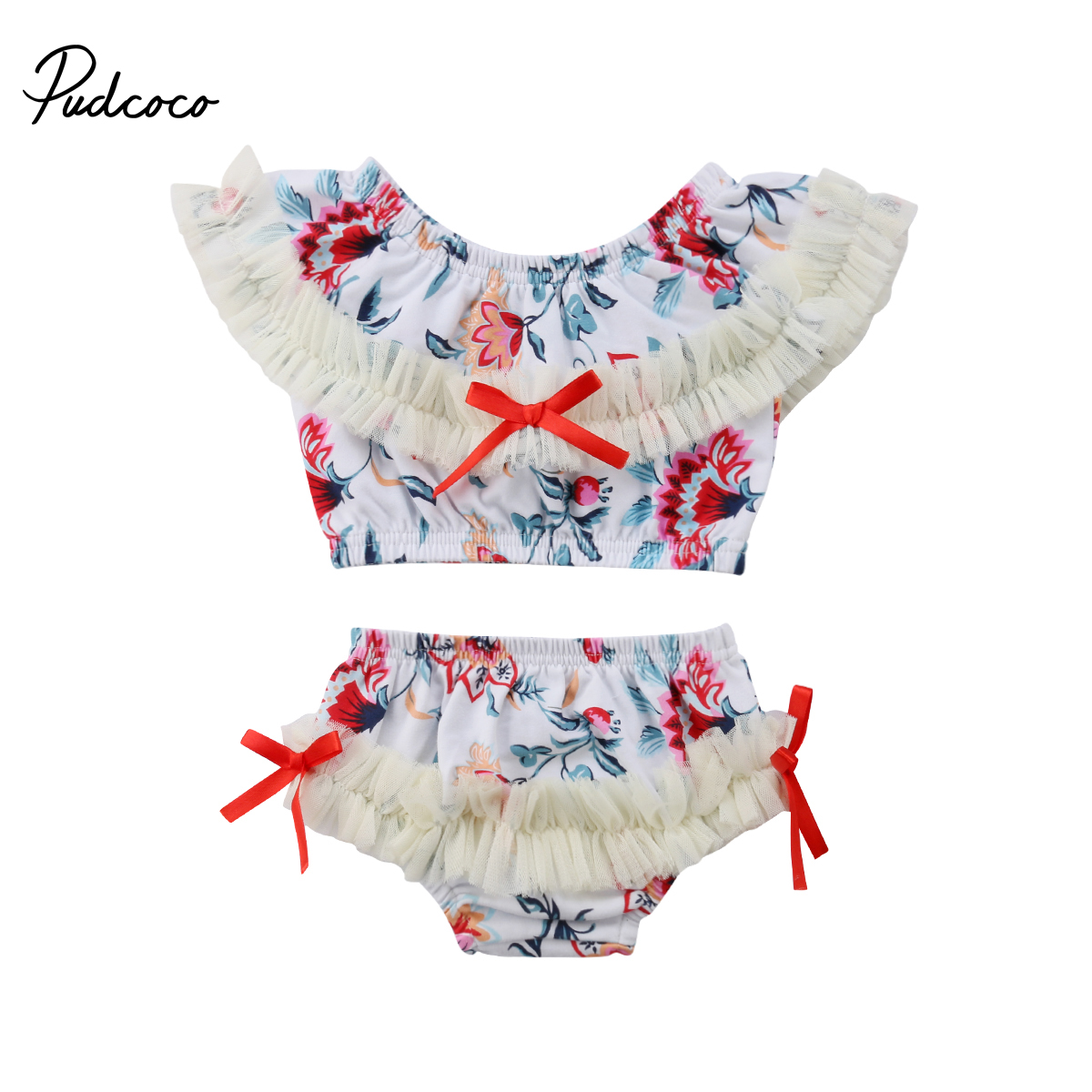 Toddler Girl Braces Ruffle Crop Top Hawaii Floral Short Pant 2Pcs Outfit Sets for Baby Kid Child 1-7T