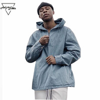 Aelfric Eden Jeans Demin Style Hooded Sweatshirt Front Pockets Drawstring Hip Hop Hoodies for Men Workout Jean Zip Hoodie SNL682