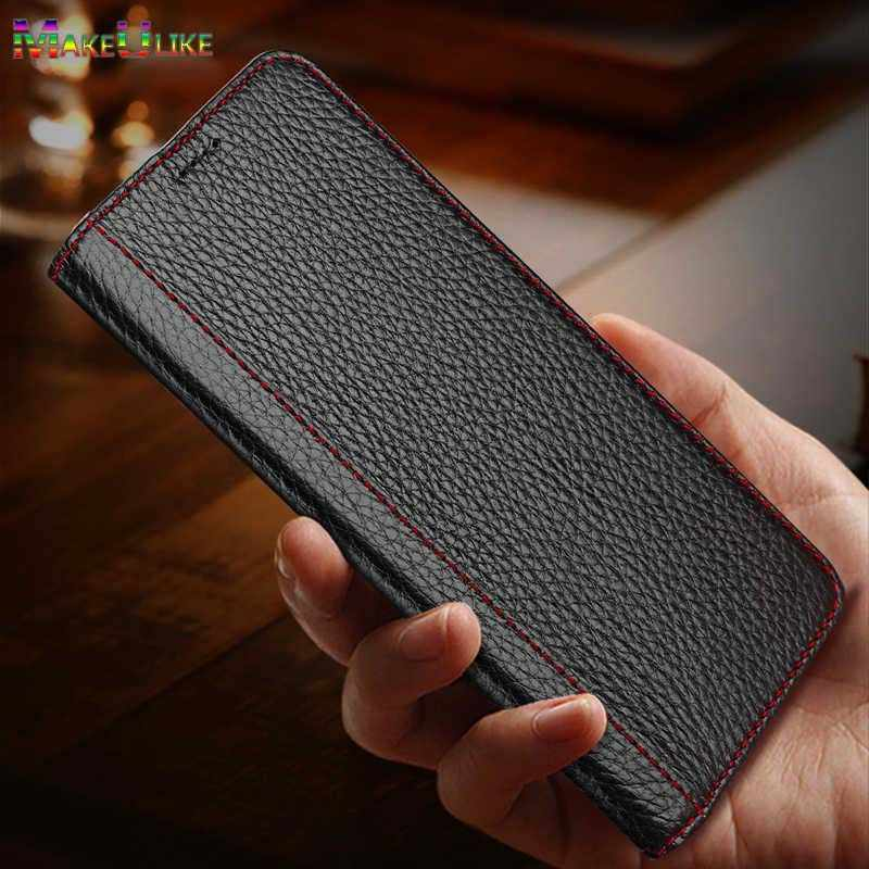 Couro genuíno Do Caso Da Aleta Para o iphone 7 8 Plus X XR XS Max Capa Conque Magnetic Phone Case Bolsa Para iPhone X XR XS MaX Funda