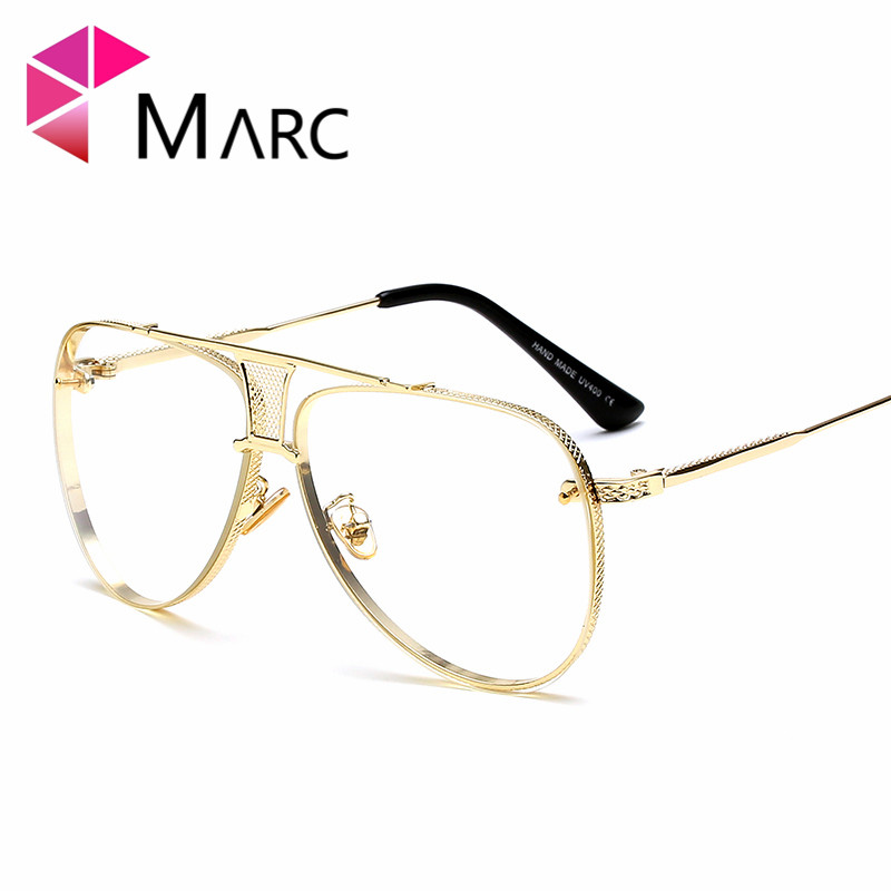 MARC UV400 WOMEN MEN sunglasse Plastic Gradient Oculos eyewear Gafas Sol Trend Brand Clear Mirror Alloy Metal Pilot Gradient in Women 39 s Sunglasses from Apparel Accessories