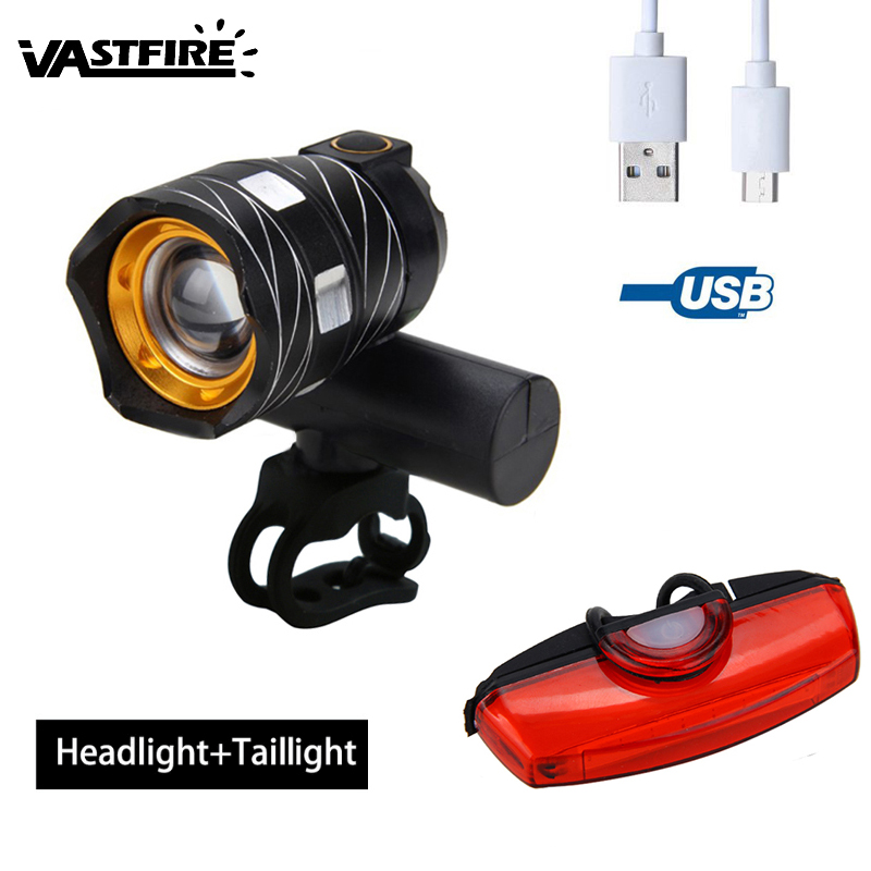 15000LM T6 LED USB Line Rear Light Adjustable Bicycle Light 3000mAh Rechargeable Battery Zoomable Front Bike Headlight Lamp bike bicycle xml t6 led headlamp headlight zoomable adjustable head light