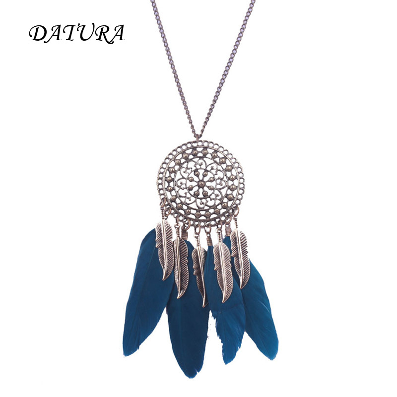 Shop2189209 Store 2 colors European and American fashion jewelry retro geometric openwork round flowers feather Leaf Necklace.