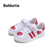 Bakkotie 2017 New Spring Fashion Girl Trainer Child Casual Sport Shoe Baby Boy Leisure Sneaker Kid Brand Breathable Heart White