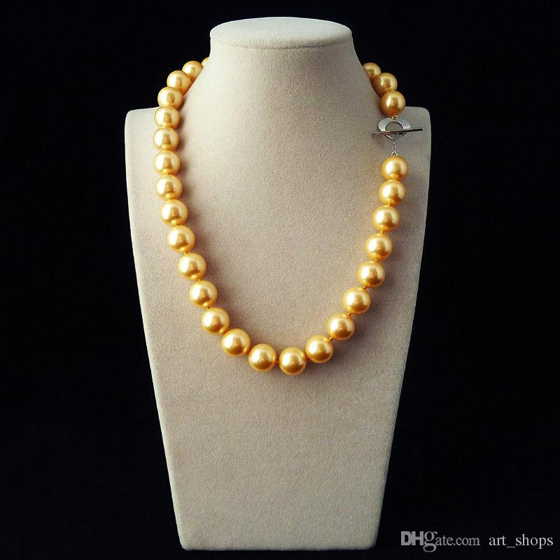 Hot selling natural AAA+12mm gold yellow shell pearl fashion necklace