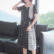 Dot Print Short Sleeve Loose A-Line Dress 2019 New Women Summer Office Lady Work
