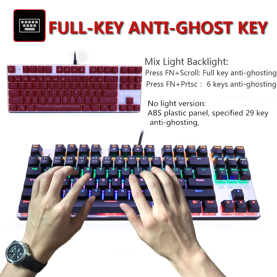 Metoo gaming Mechanical Keyboard Game Anti-ghosting Russian/US blue Black red switch Backlit Wired keyboard for pro gamer 4