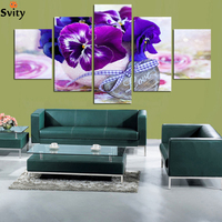 5 panel Set Wall Art Modern Purple butterfly Flower Scenery Painting canvas Comtemporary Art Wall Decor Oil Painting A128