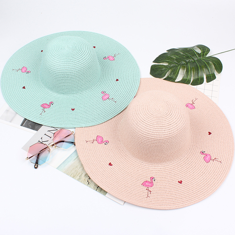 b0ee1acd59d7b Newest Big Wide brimmed flamingo embroidered Straw Sun Hat Women flat-top  beach cap fashion foldable solid Summer panama hat