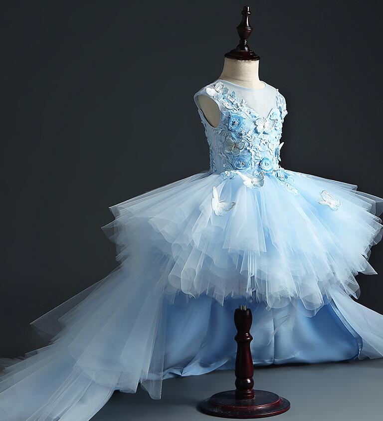 High end Girl Wedding Party Flower Girl Dress Long Trailing Princess Gowns Beaded Floral Tulle Girl
