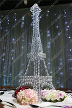 10pcs/lot Free shipment Candelabra centerpiece Eiffel Tower crystal candle holder 23 tall