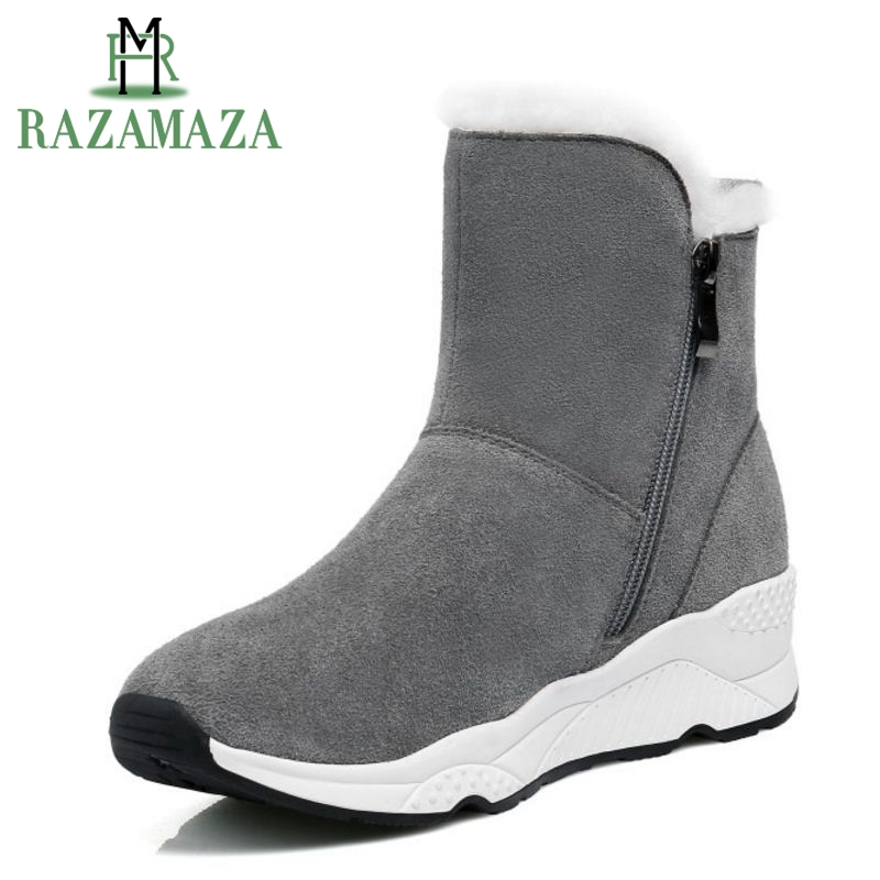 a85b644b860a Detail Feedback Questions about RAZAMAZA Women Genuine Leather Wedges Snow  Boots Zipper Half Short Boots Warm Winter Shoes Short Botas Women Footwear  Size ...