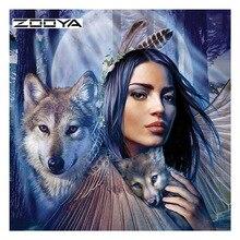 ZOOYA Diamond Painting Animal Wolf Woman Embroidery Full Pack 3D DIY Mosaic Decor Rhinestones Needlework RF1807