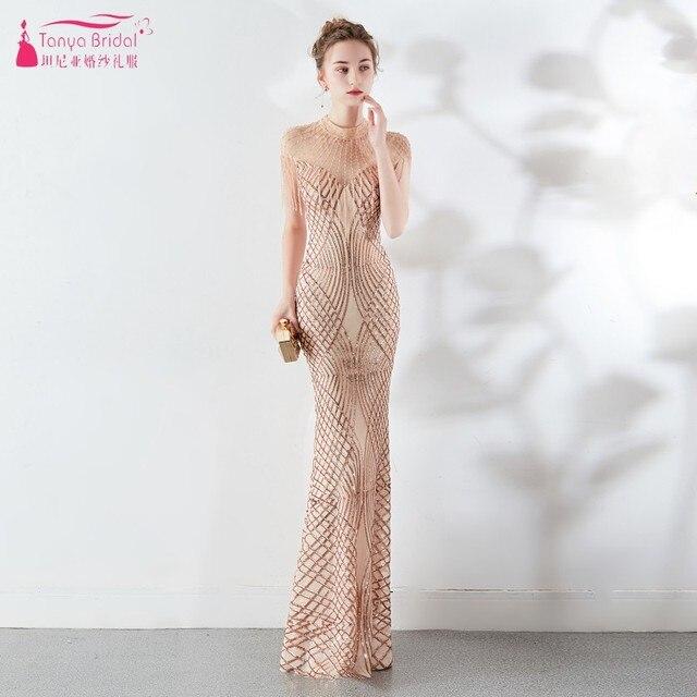 Sparkly Sequin Mermaid Bodice Long High collar Beading Bridesmaid Dresses Fast Shipping Charming Wedding  Dress JQ309