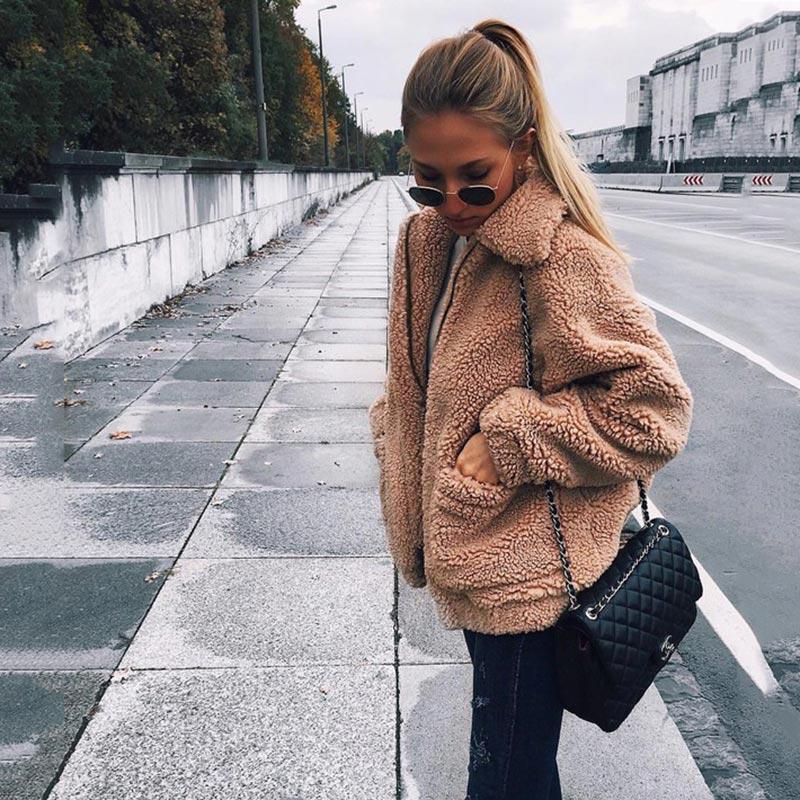Women jacket 2019 autumn winter jacket fashion female coat new zipper sweaters lapel loose fur jacket women outerwear women coat 1