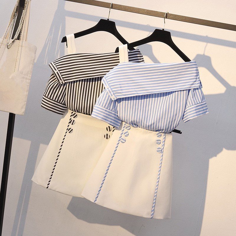 Women Sexy Striped Outfits Casual 2 Piece Set Slash Neck Off Shoulder Shirts Double Breasted High Waist Mini Skirts Suit
