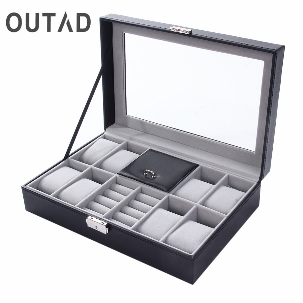 2 In One 8 Grids+3 Mixed Grids PU Leather Watch Case Storage Organizer Box Luxury Jewelry Ring Display Watch Boxes Black top New large 6 grid watch jewelry watch display organizer gloss top box case gif storage synthetic black leather