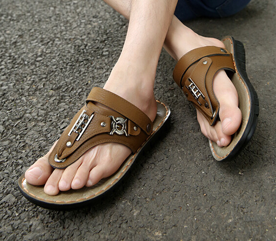 Nice Summer Men font b sandals b font Genuine Leather High Quality casual shoes Beach flip