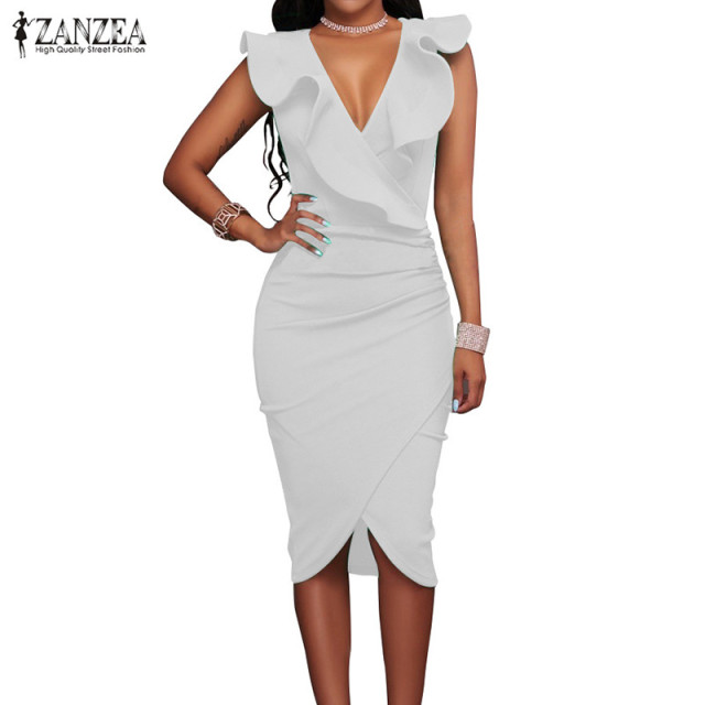 ZANZEA 2018 Women Summer Dress Sexy Sleeveless V Neck Pencil Party Dresses Ladies Ruffles Bodycon Slim Midi Club Vestidos 5