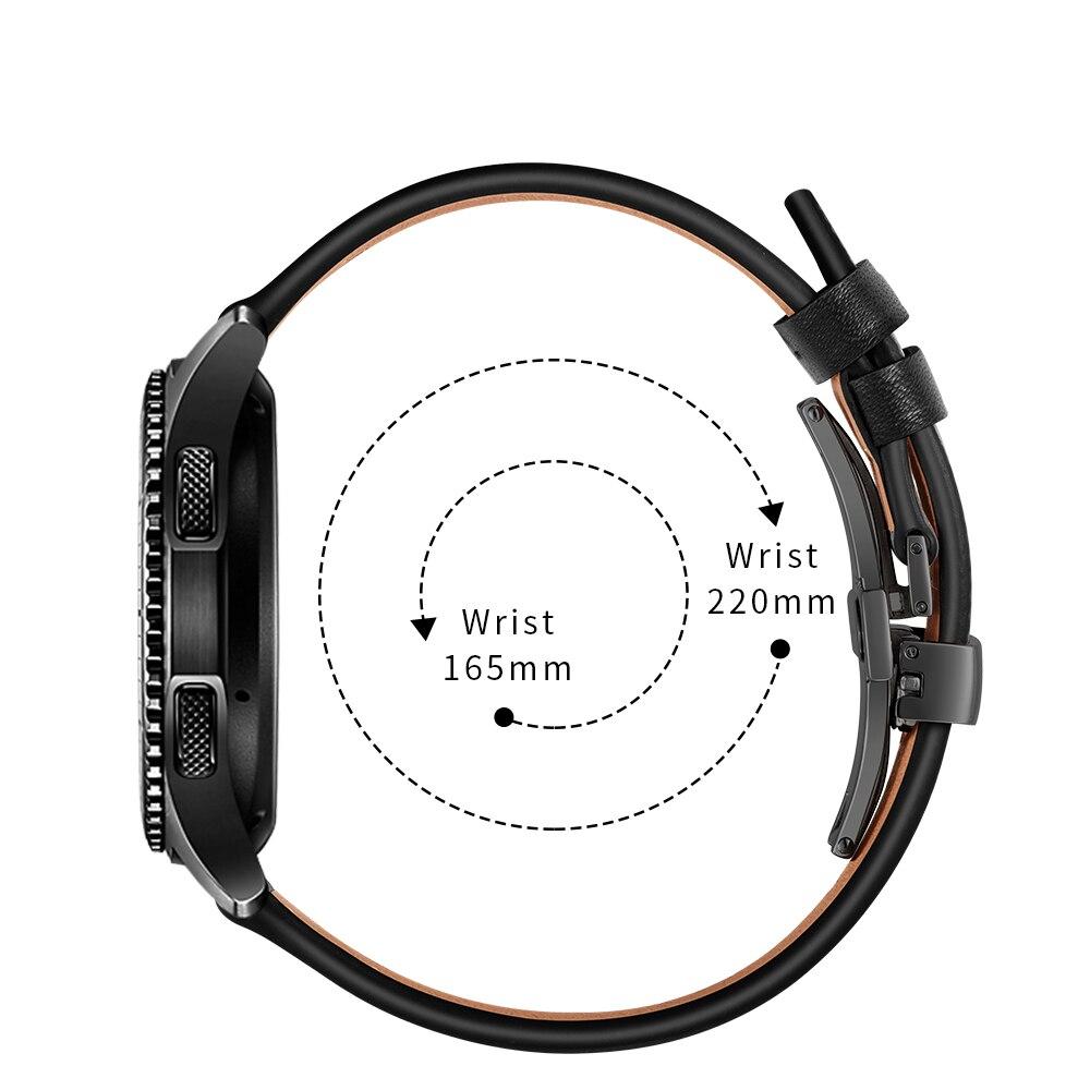 Date en cuir véritable Sas pour Samsung Galaxy montre 46mm en acier papillon montre bracelet bande Gear S3 classique frontière Huawei montre - 5