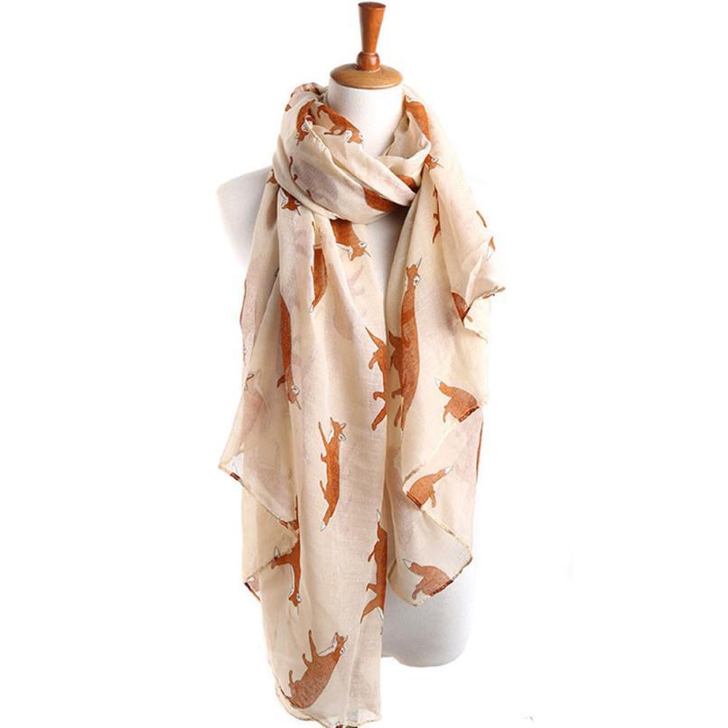 Vestido Winter Scarf Casual Ladies Tops Women Long Cute Fox Scarf Luxury Brand Wraps Soft Shawls and scarves Summer Beach Scarf