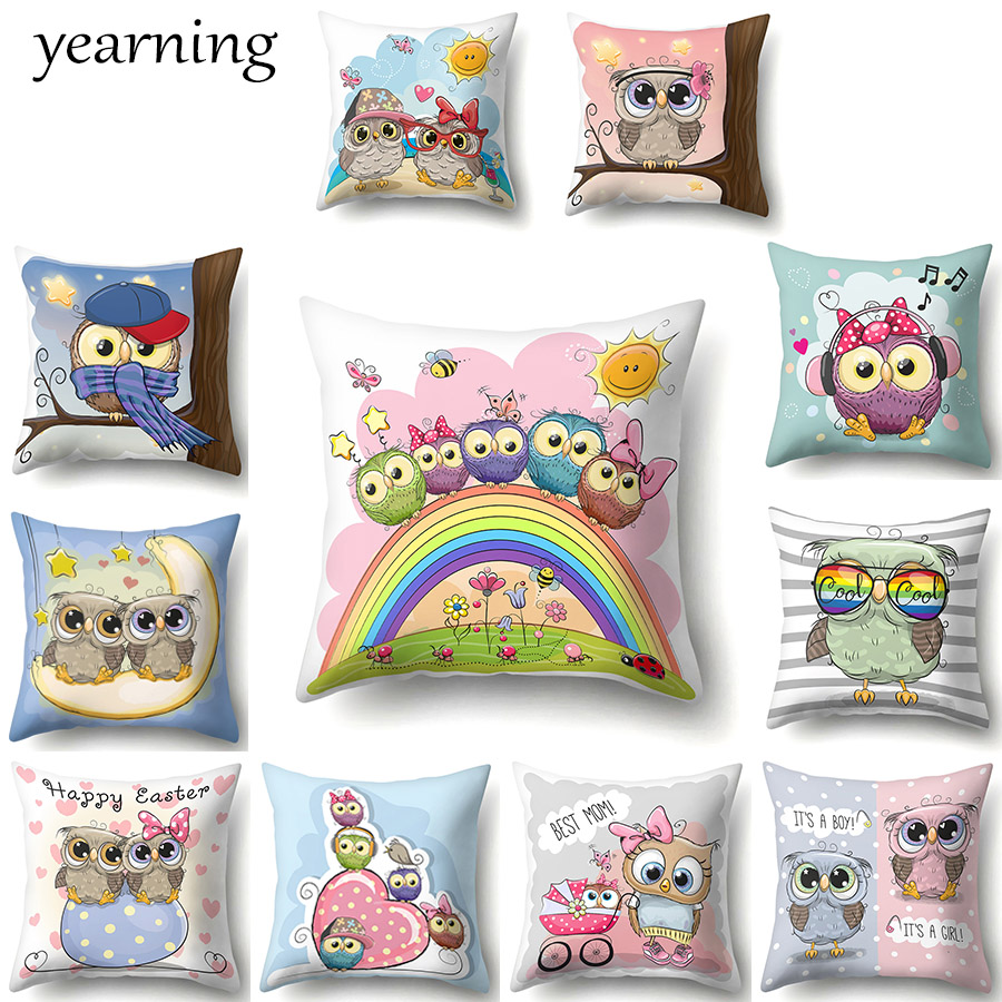 Owl Pattern Cushion Cover Cartoon Animal Bird Printed Polyester Pillow Case Decoration Home Office Throw Pillow Cover 45X45 CM
