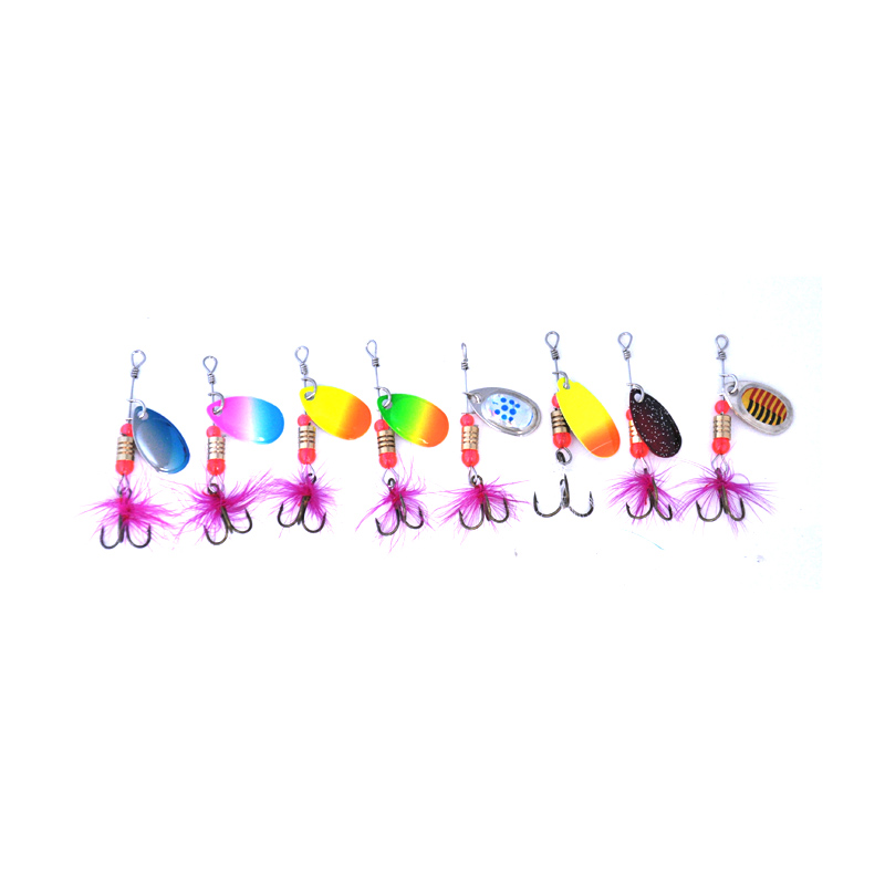 OLOEY Fishing Spinner Fishing Lures Wobblers CrankBaits Jig Shone Metal Sequin Trout Spoon With Feather Hooks for Carp Fishing-in Fishing Lures from Sports & Entertainment