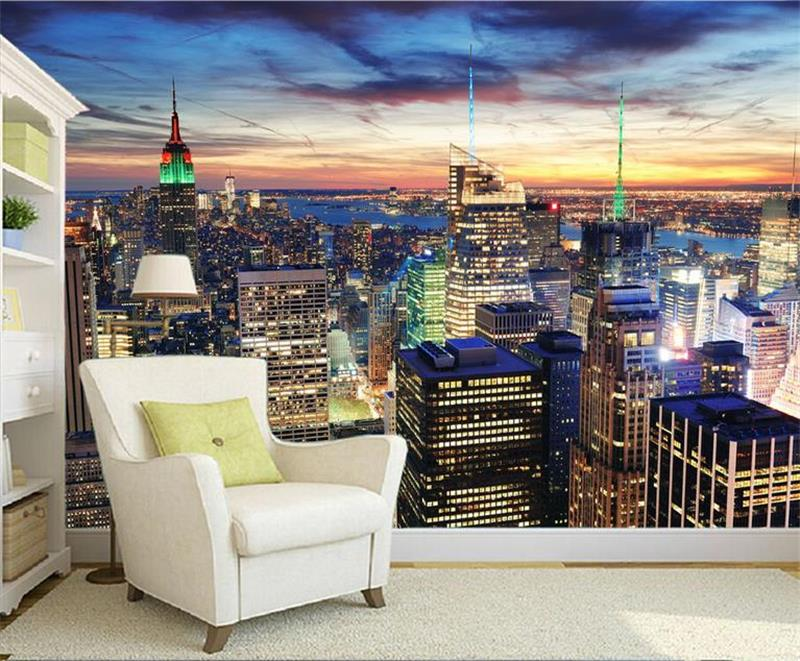 custom 3d photo wallpaper mural room city New York nightscape 3d painting sofa TV background wall non-woven mural wall sticker 3d photo wallpaper custom room mural non woven sticker retro style bookcase bookshelf painting sofa tv background wall wallpaper