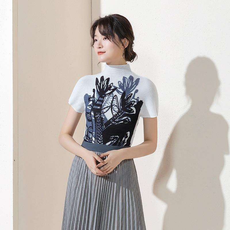 Changpleat 2019 verano nuevas camisetas estampadas de mujer Miyak plisadas de moda cuello alto de manga corta grandes camisetas femeninas elásticas - 4
