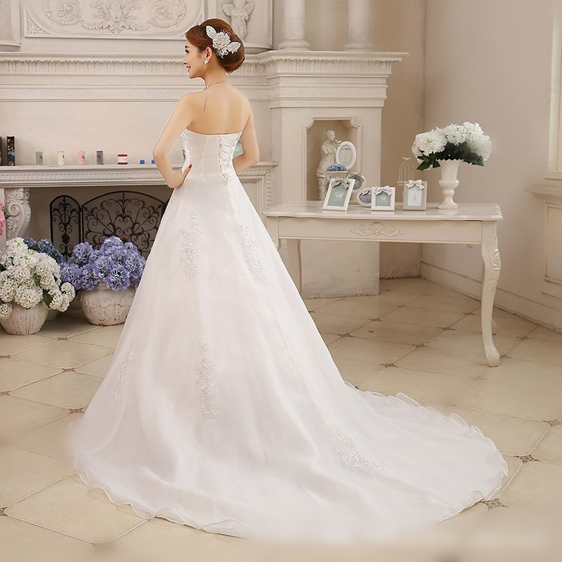 Image 3 - Vestidos De Novia White Wedding Dresses Strapless Ruched Beaded Embroidery Elegant Bride Dresses With Sweep Train Gelinlik 2019-in Wedding Dresses from Weddings & Events