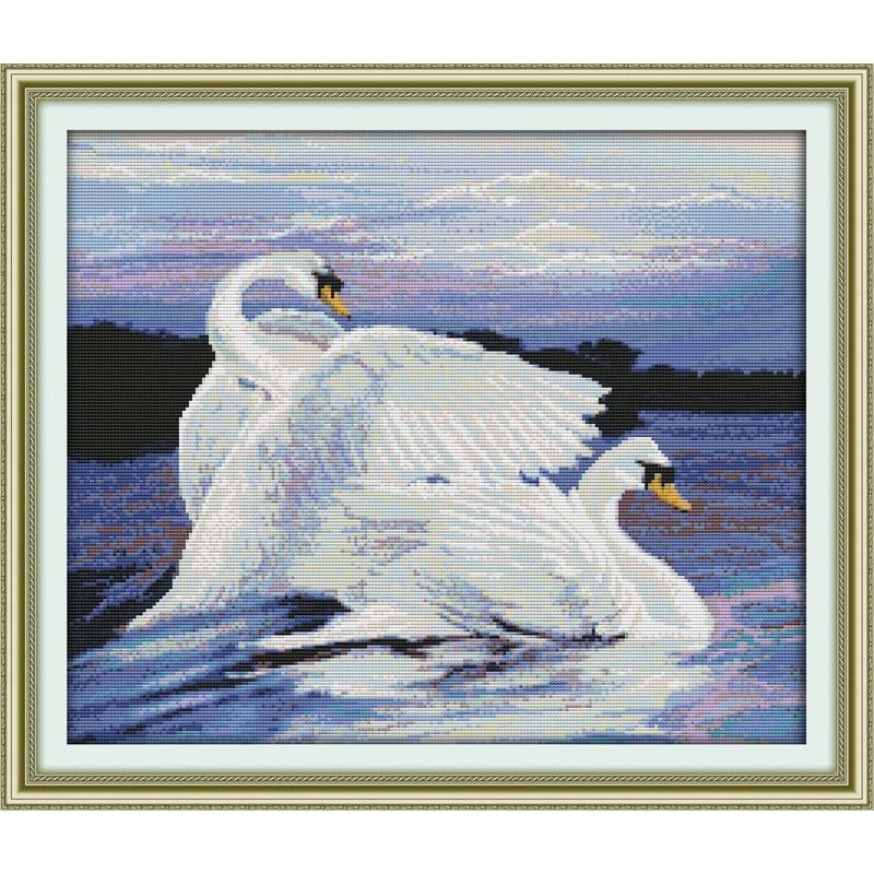 ✅Dos cisnes contó patrón en lona DMC 14ct Cruz puntada kits bordado ...