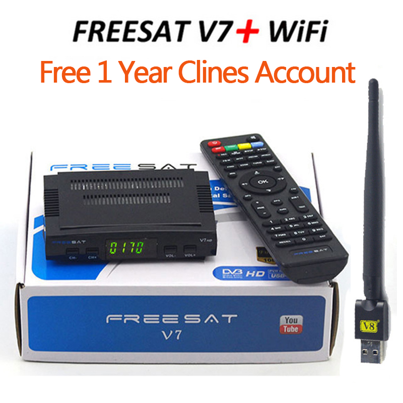 Freesat V7 HD Receptor DVB-S2 satellite Decoder+V8 USB WIFI with 7clines for 1 year HD 1080p BISS Key Powervu satellite receiver wholesale freesat v7 hd dvb s2 receptor satellite decoder v8 usb wifi hd 1080p support biss key powervu satellite receiver