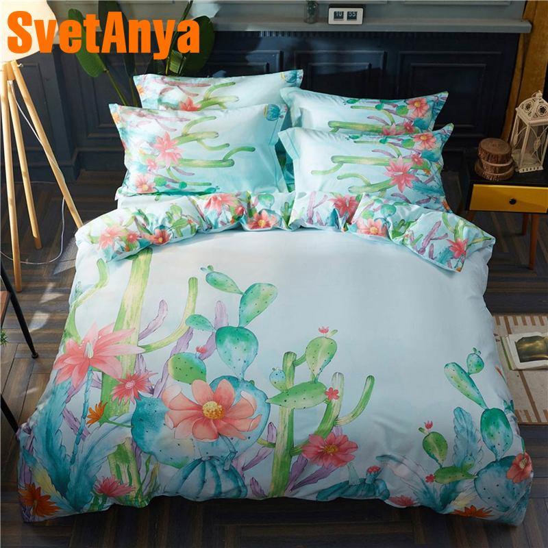 Svetanya Cactus Bedding Set 100 Cotton Bedlinen Queen Full Double King Size-in Bedding Sets from Home & Garden    1