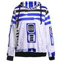 Новый мужская галактика пространство R2D2 печатных женщины мужчины с капюшоном спортивный костюм толстовки с передний карман для Ms и Mrs 4182316