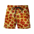 Newest Style Funny 3D Shorts Delicious Pizza Prints Short Pants Male Hipster Beach Shorts Mens Streetwear Board Shorts