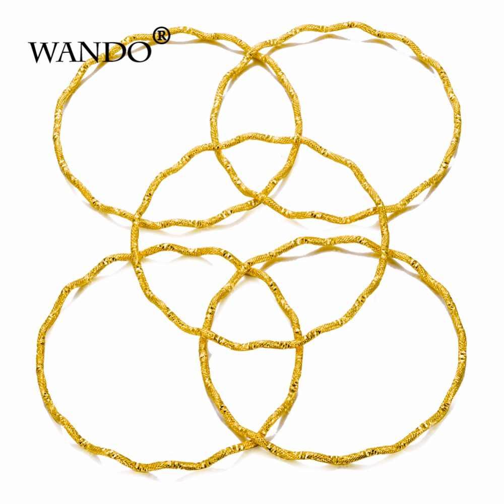 WANDO 5pcs סיטונאי דובאי זהב צמידים לנשים Men18k זהב צבע נשים צמידי אפריקאי/אירופאי/אתיופיה תכשיטים צמידים