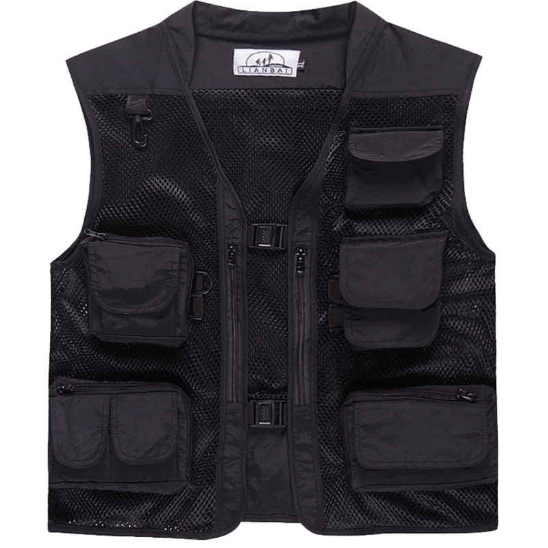 Image 5 - Summer outdoor Men Multi Pocket Baggy Vest  men Thin Mesh Shooting Work Outerwear Sleeveless Jacket  Many Pockets fishing vest-in Vests & Waistcoats from Men's Clothing
