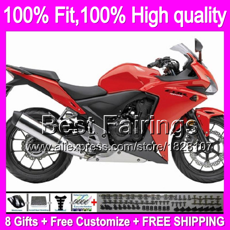 Fairing For HONDA Injection Red black CBR500R 13-15 CBR500RR 12B6 CBR 500R CBR500 R 13 14 15 2013 2014 2015 Gloss red +decal