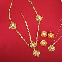 New Arrival Fashion African Eritrean Ethiopian Jewelry Sets 18K Gold Plated Habesha Jewelry Sets For Women