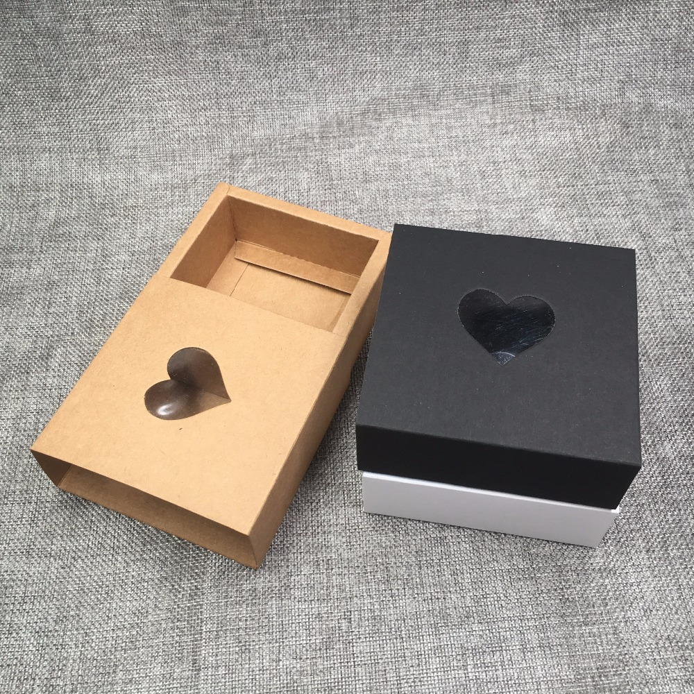 Image 5 - 50pcs Kraft Drawer Box with PVC Heart Window for GiftHandmade 