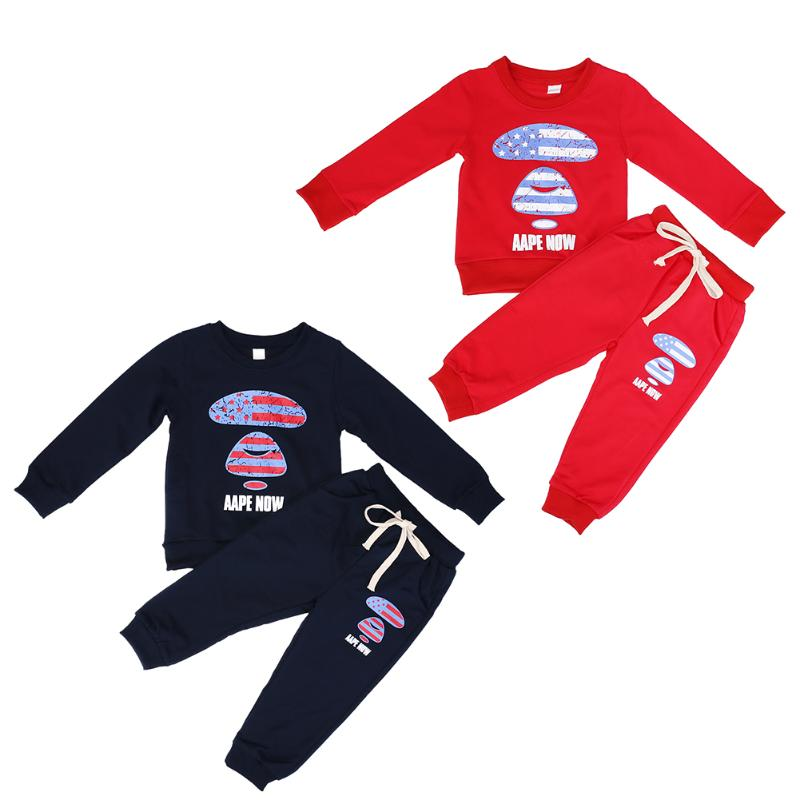 2pcs Baby Clothes Set Boys Girls Long Sleeve Printed Cotton Sweatshirt + Pants Outfit Set Infant Toddlers Autumn Winter Clothes cotton baby rompers set newborn clothes baby clothing boys girls cartoon jumpsuits long sleeve overalls coveralls autumn winter