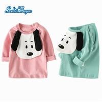Spring Autumn Babys Sweatshirts Baby Girls Cotton Sweatshirts The Puppy Printing Design Long Sleeve T-shirts Kids sport Clothes