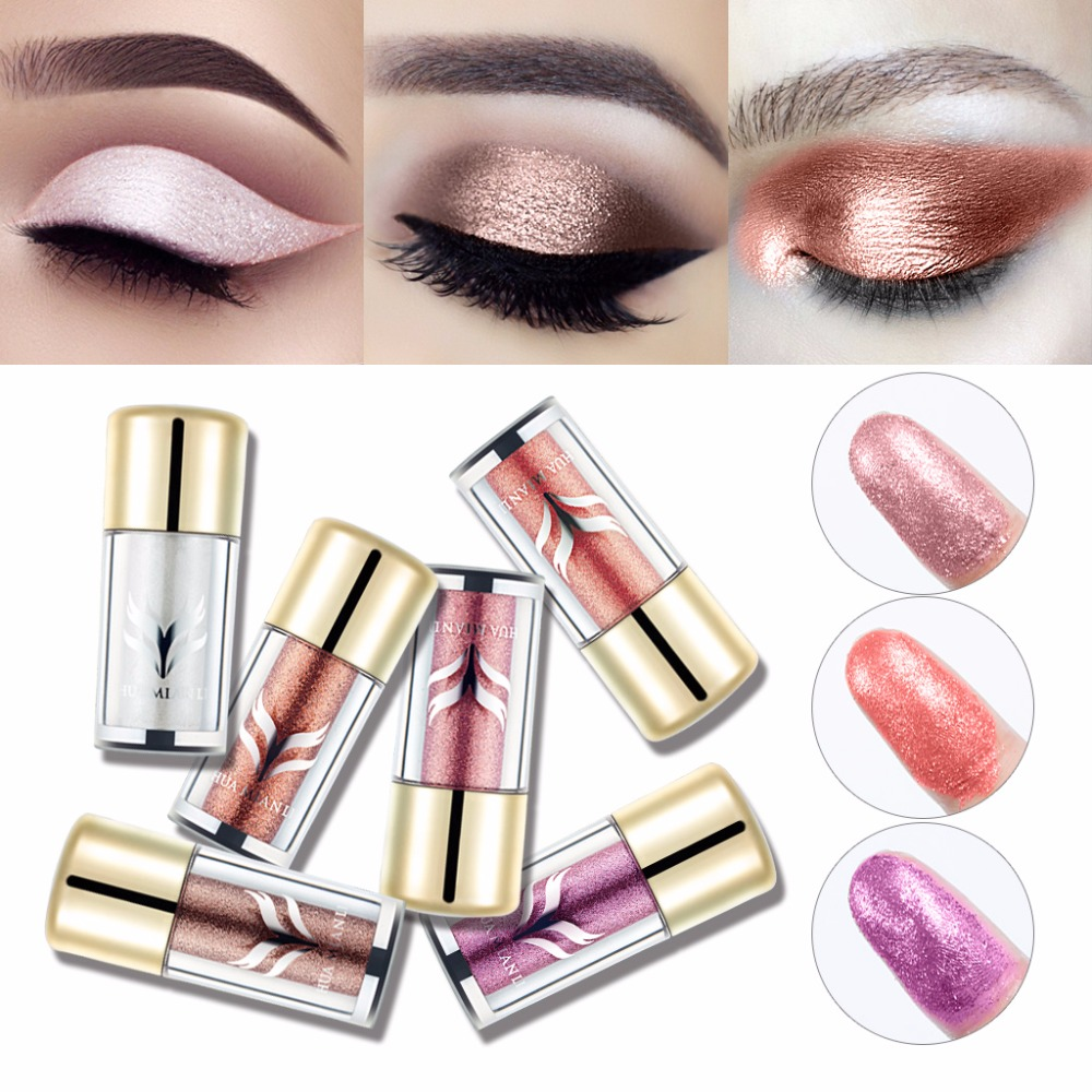 HUAMIANLI 6 Colors Eyeshadow Glitter Silky Powder Profession