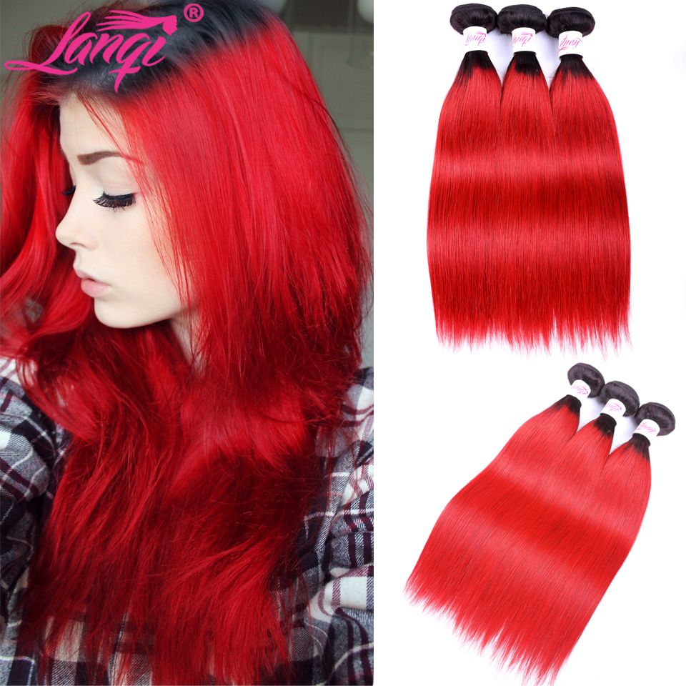Brazilian Straight Hair 3 Pcs Ombre Red Human Hair Weave 3 Bundles Deals Dark Roots 2 Tone T1B/Red Lanqi Human Hair Weaving