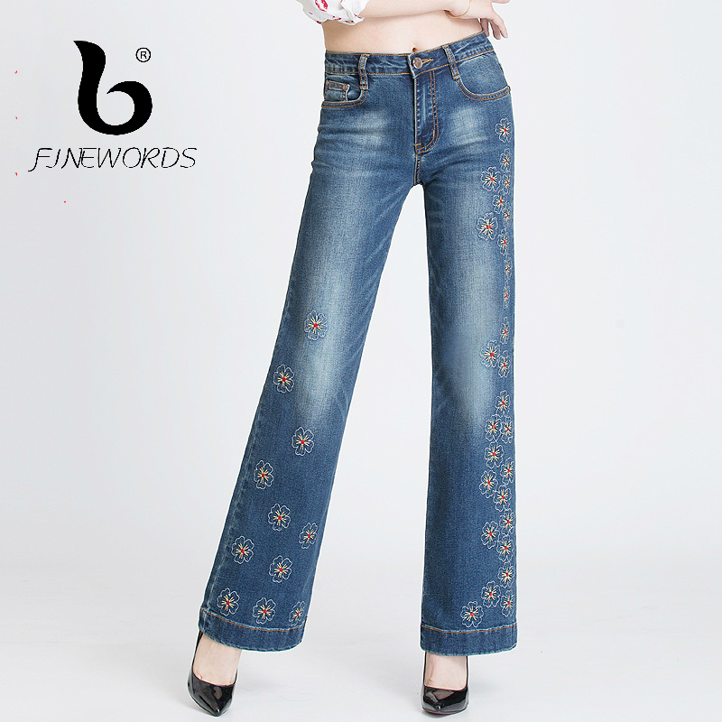FINEWORDS Retro Jeans Woman Flower Embroidery Beading High Waist Jeans Bell Bottom Casual Loose Embroidered Flares Wide Leg Pant
