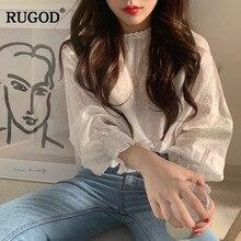 RUGOD koreański elegancki kwiatowy Print kobiety bluzka Vintage rękawy typu lampion koronki białe słodkie damskie koszule Casual Femme topy Modis
