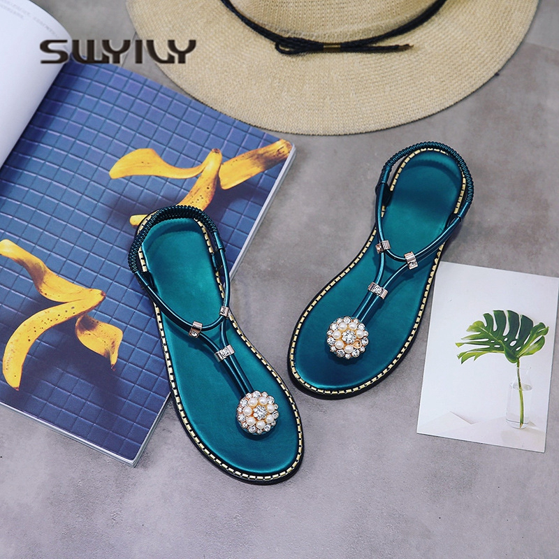 SWYIVY Women's Sandals Bohemian Flip Flops 2018 Rhinestone Diamond Beach Sandal Flats Lady Black Green Luxury Sandals Slingbacks